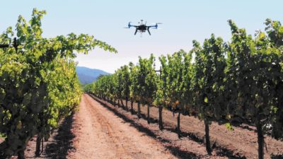 A multi-rotor 3D Robotics Y6 drone lifts off at Kunde Family Vineyards near Santa Rosa, Calif. Ryan Kunde, a winemaker at DRNK Wines in Sebastopol, said he flies his drones recreationally, but hopes one day to use the data they collect to help growers manage their crops once FAA rules allow it.